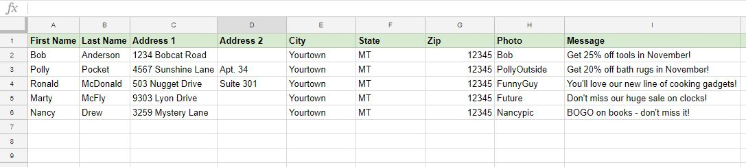 Data in spreadsheet